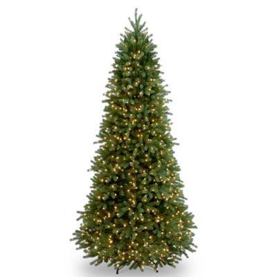 National Tree 9-Foot Jersey Fraser Fir Slim Christmas Tree Pre-Lit with Clear Lights - BedBathandBeyond.com