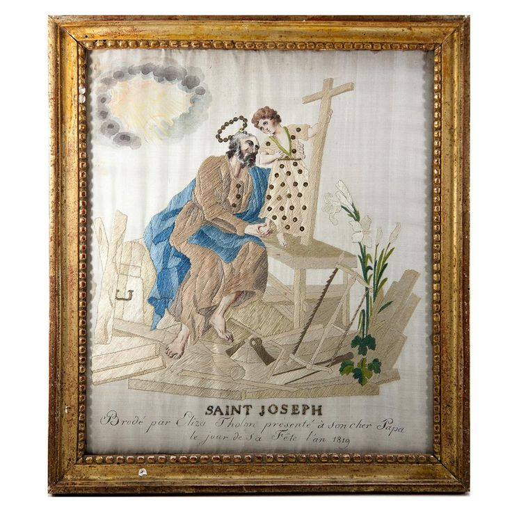 RARE c.1819 Napoleonic Silk on Silk Embroidery Sampler #4 in Frame, Saint Joseph & Jesus