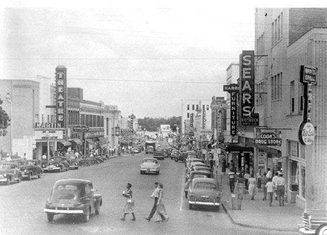 "Downtown Dothan, Alabama around 1950-this is where my MeMe took us shopping! The Sears store was the place to go and the Sears catalog was the biggest ""wish book, ever!"""