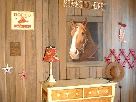 Cowboy mural kids room