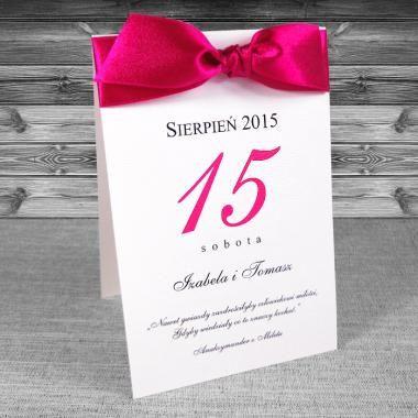 zaproszenia ślubne - Zaproszenia w formie kalendarza. Kalendarz, wstążka w kolorze fuksji. Zaproszenia na ślub i wesele.