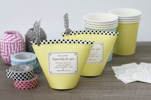 so simple but lovely. Using paper cups and washi tape.
