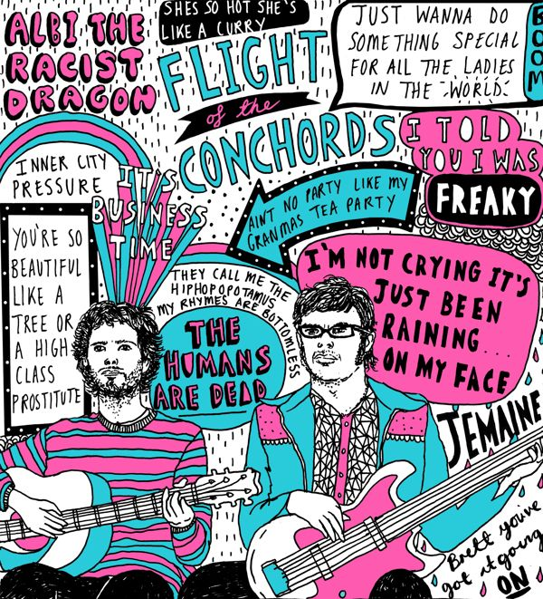 Flight of the conchords by Charly Clements, via Behance