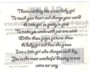 Baby girl poem                                                                                                                                                                                 More