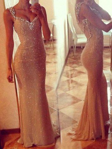 Sexy Plunging Neckline Sequined Mermaid Dress For Women Prom Dresses | RoseGal.com Mobile