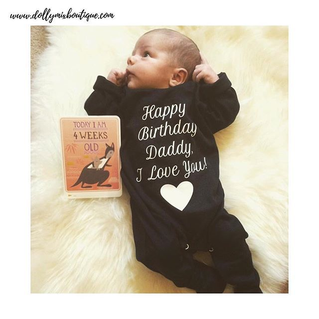 Too much CUTENESS 😍  Freddie wishing his Daddy a Happy Birthday 🎂 CREATE YOUR OWN BABYGROW for any occasion via our website >>> www.dollymixboutique.com