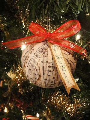 Sheet Music Ornament-favorite songs, wedding songs, etc.