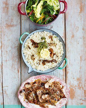 Pork Marsala with porcini rice