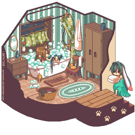Pixel Vignette: Bath Time by hitogata [CLICK FOR ANIMATION]