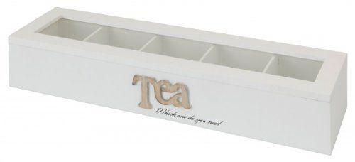 Holz Teebox - 5 Fächer - 38 x 10 x 7 cm - Aufbewahrung für Tee & Teebeutel - Teedose - Teekiste - Teebeutelbox - Teekasten: Amazon.de: Küche & Haushalt