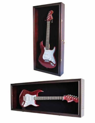 Guitar Display Case Cabinet Wall Hanger for Fender or Electric Guitars w/ Uv Protection- Lockable, Mahogany Finish (GTAR2(BL)-MAH) by DisplayGifts.com. $114.95. The enclosed Musicians Gear Electric Guitar Display Case comes with a locking hinged plexiglass door, and 2 keys. Designed to safely hold your electric guitars, the hardtop case features a solid wood frame with a black felt back panel and built in guitar hook. Ships fully assembled and mounts in minutes. (Moun...