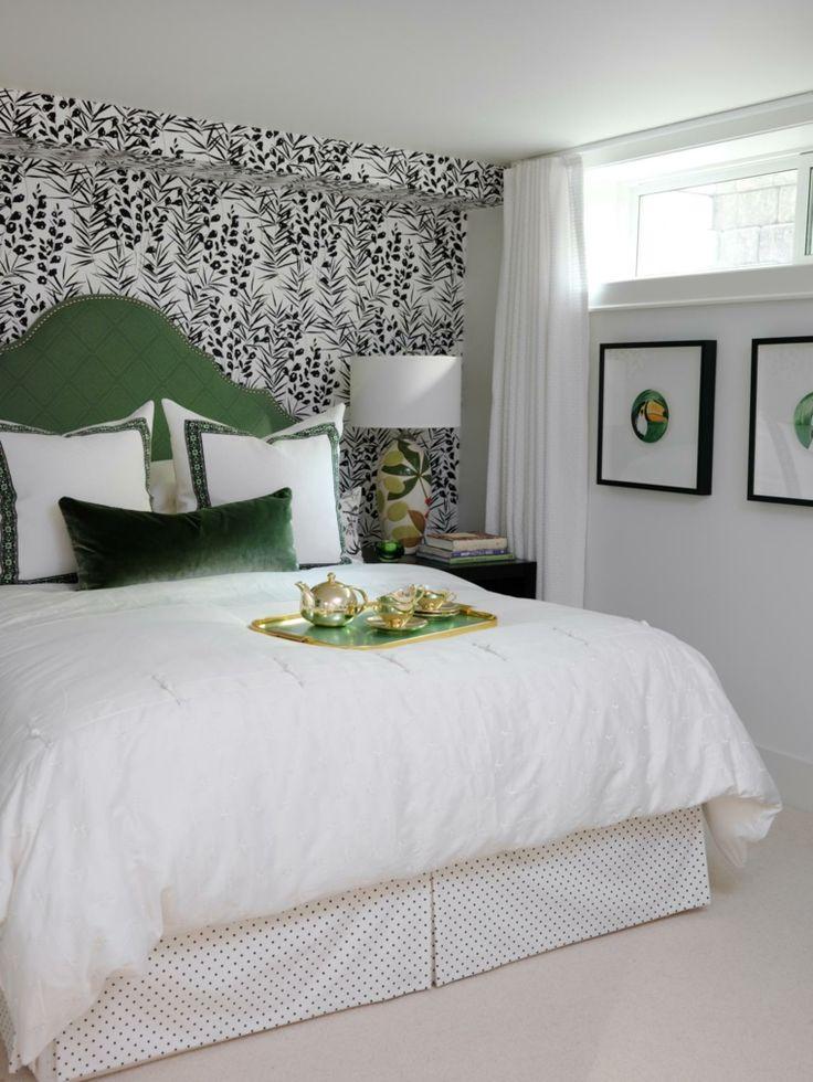 tete de lit papier peint | tête de lit matelassée verte papier peint noir et blanc design déco ...