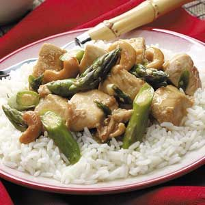 Asparagus Chicken Stir-Fry Recipe, this is an awesome recipe. I made this and there were no left overs. Very good. We left out the cashews because we didn't have any. Don't judge this recipe by it's name!