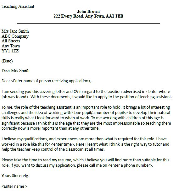 teachers aide cover letters Teacher assistants collaborate with head teachers and help them provide instruction to students a sample cover letter for teaching assistant should emphasize the.