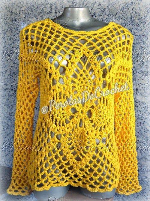* Pérolas do Crochet: Pap Passo a passo - Blusa em crochet MaxColor Círc...