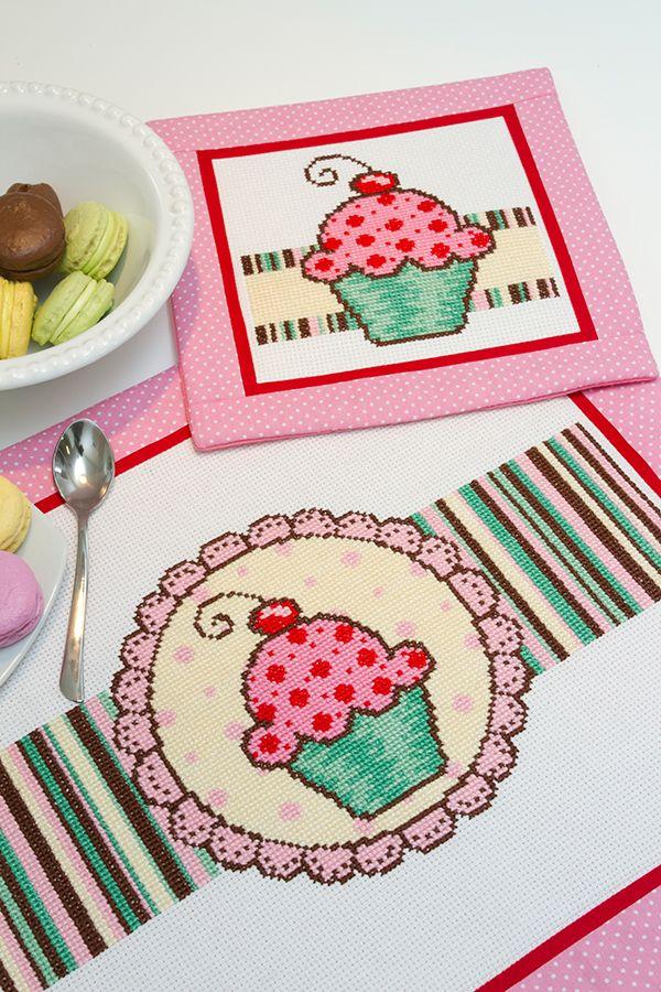Jogo americano cupcake delicado #bordado #pontocruz #receita #diagrama