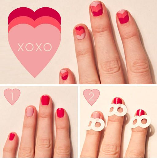 Give chevrons a Valentine's twist with binder reinforcement stickers. Jenna Beth layered shades of pink to create this charming heart-shaped chevron design. The stickers ensure clean lines so even rookie nail artists can tackle this look. We're smitten.