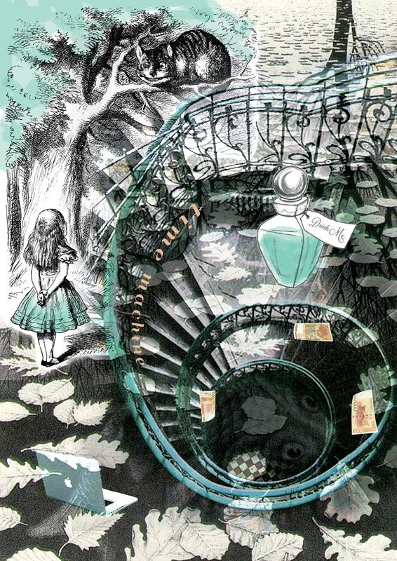 Down the Rabbit Hole by Bridget Steis. My collage & blog post on Empress Tea.