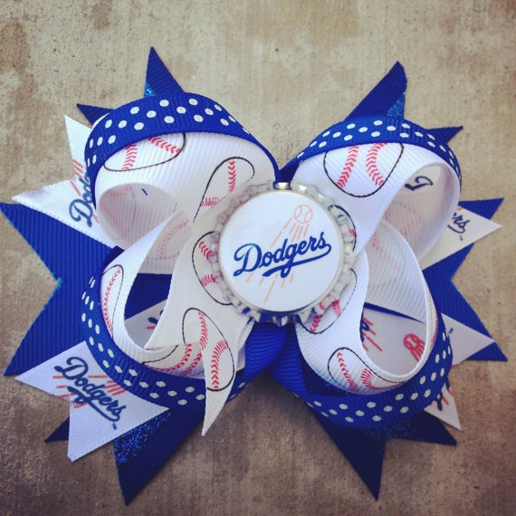 Fancy Diva LA Dodgers Inspired Blue White Polka by Bowliciousdivas, $9.00