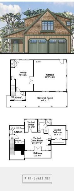 Carriage House Plans | Craftsman-Style Garage Apartment Plan with 2-Car Garage Design # 051G-0069 at
