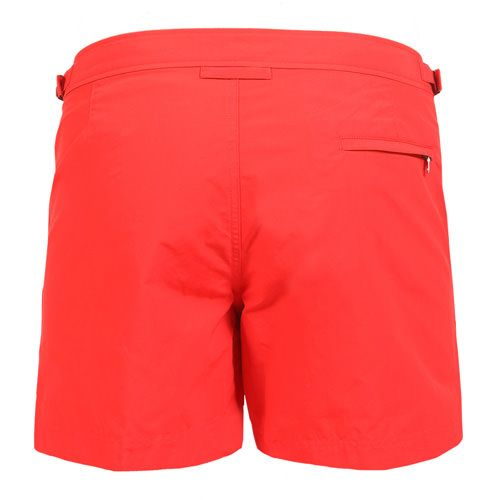 SETTER MID-LENGHT BOARDSHORTS COLOR RED Red nylon SETTER mid-length boardshorts. Two front pockets. Zippered back pocket. Side adjustable strings. Interior snap button closure and zipper. Internal net. COMPOSITION: 100% POLYAMIDE internal net 100% POLYESTER. Model wears size 32 he is 189 cm tall and weighs 86 Kg.