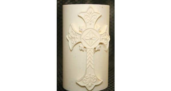 Ornate Cross Fondant Candle Mold - Most designs are held in stock. Should you require a mold that is out of stock, we can pour a fresh one in less than 24 hours. If you require multiples of one design, we will tell you at the time of order the exact day your molds will be posted.