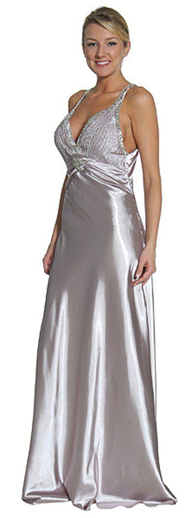 Silver Formal Evening Dress Long Full Length Satin Beaded Strap Gown $149.99