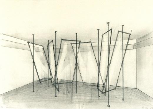 Gerhard Richter » Art » Drawings » Study for '4 Glass Panes' (CR 160) » 66/7