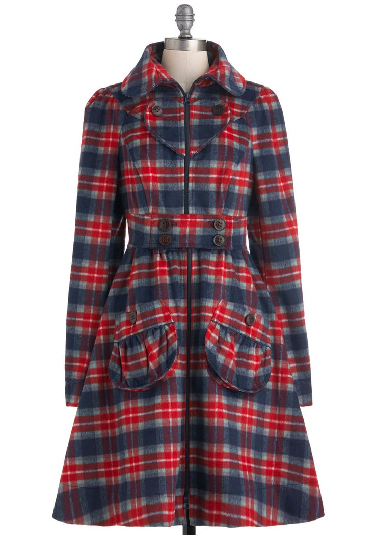 I Heart Plaid Coat by Blutsgeschwister - Long, Red, Blue, Grey, White, Plaid, Buttons, Pockets, Long Sleeve, 3, Fall, Winter, Belted, Rustic