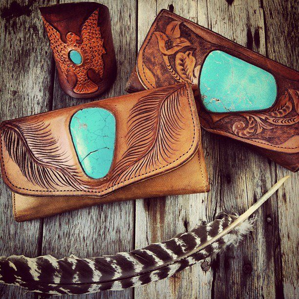 Gorgeous hand crafted leather and turquoise wallets by Buffalo Girl.