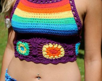 Rainbow Halterneck top, Crochet cropped halter top, gypsy clothing, Hippie top, bohemian, colourful