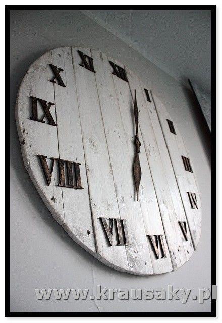 Zegar Shabby chic Witamy na stronie firmy Krausaky! Zegar Shabby chic. Ten wspaniały zegar to nie tylko czasomierz - to również doskonała ozdoba i dekoracj , meble i dekoracje z drewna, z desek, shabby, vintage, rustykalne, loft, industrial, rustic
