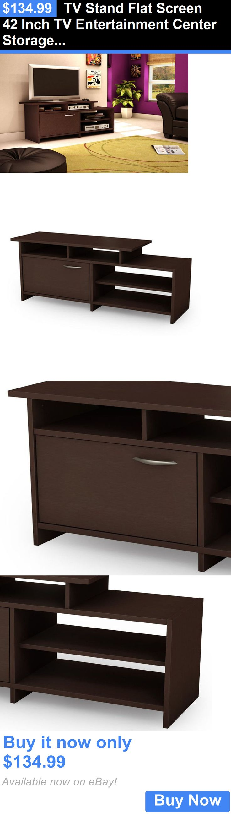 Entertainment Units TV Stands: Tv Stand Flat Screen 42 Inch Tv Entertainment Center Storage Chocolate Brown New BUY IT NOW ONLY: $134.99