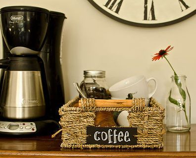 kitchen organization coffee station, chalkboard paint, crafts, home decor, kitchen design, mason jars, organizing, Organize your coffee supplies in a decorative and functional way bistro style in a seagrass basket