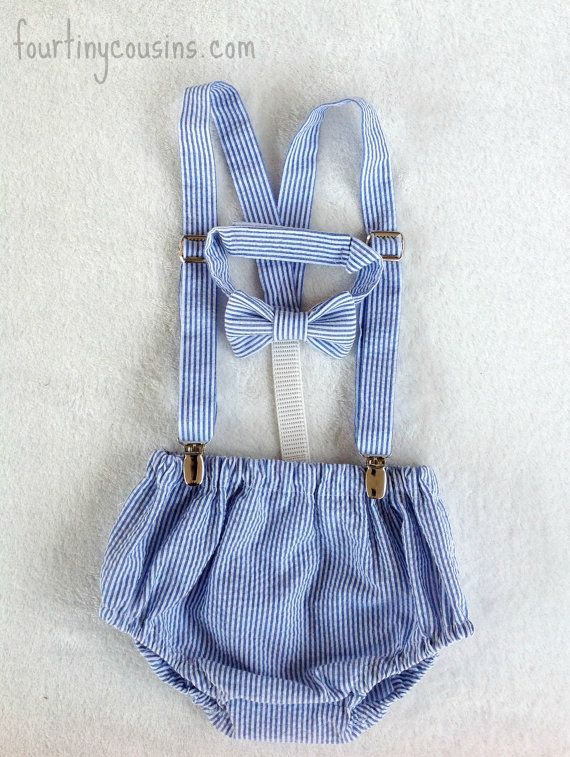 Cake Smash Outfit - baby suspenders - baby boy neck tie - boy diaper cover - Baby bow photo prop - newborn prop - seersucker on Etsy, $50.00
