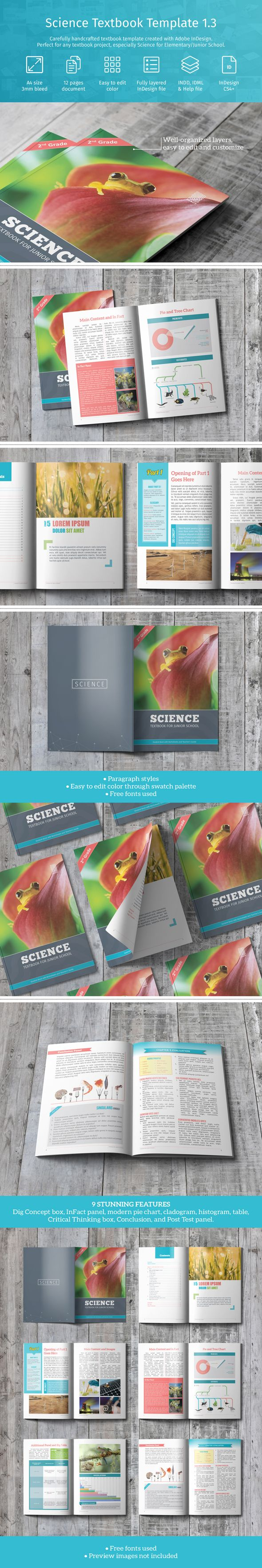 Carefully handcrafted textbook template created with Adobe InDesign.