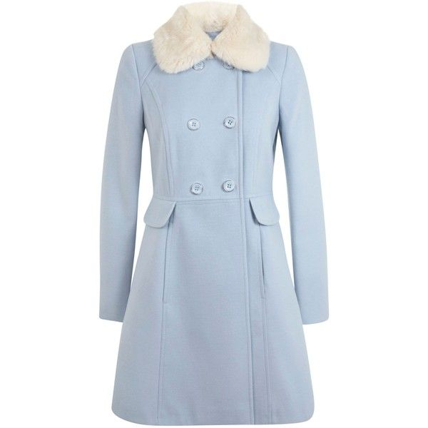 Miss Selfridge Double breasted skirted coat ($68) ❤ liked on Polyvore featuring outerwear, coats, clearance, pastel blue, faux fur collar coat, miss selfridge, blue double breasted coat, double-breasted coat and blue coat
