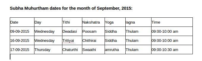 Subha Muhurtham month of September