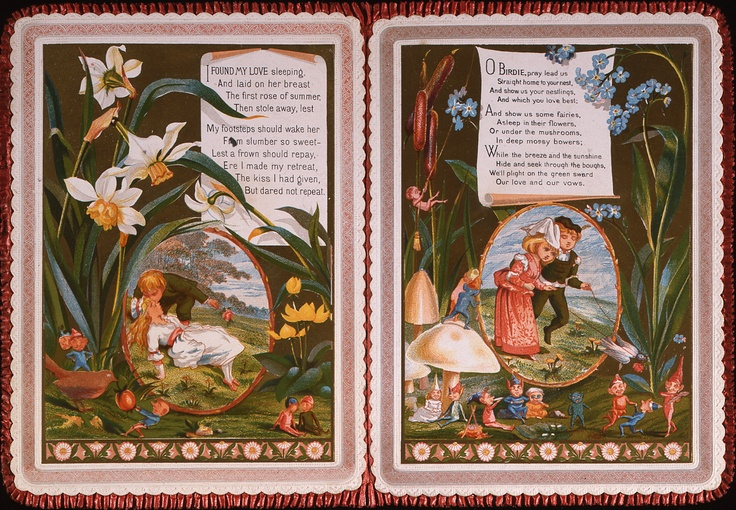 'I found my love sleeping' Valentine Card. Kate Greenaway valentine card. Two chromolithograph portraits of fairies and elves, with verse beginning 'I found my love sleeping'. Embossed details with floral scraps on other side joined with red fabric. c.1880 (OB1995.449/1)
