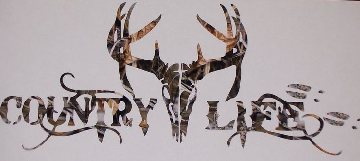 Country Life Deer Skull Head Window Decal Sticker 4 Colors