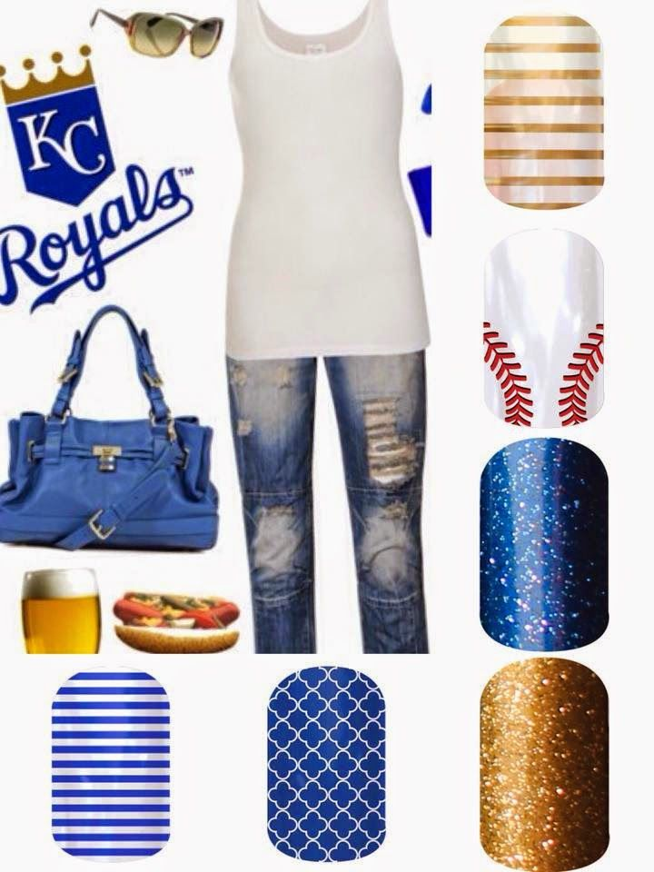 Are You Ready for Some Sports Jamberry Style?  KC Royals Baseball Outfit with Jamberry Nails