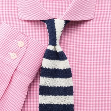 Pink textured gingham check non iron extra slim fit shirt for Mens dress shirts charles tyrwhitt
