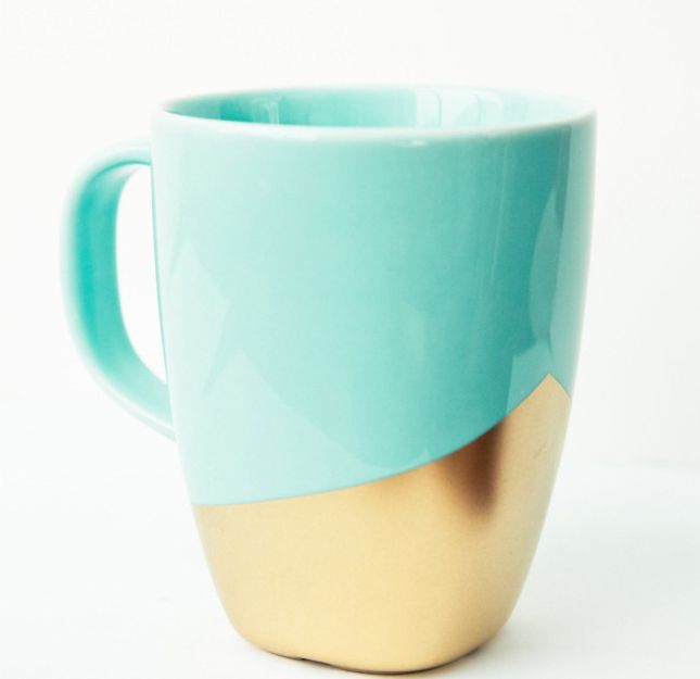 How chic is this gold and mint mug?