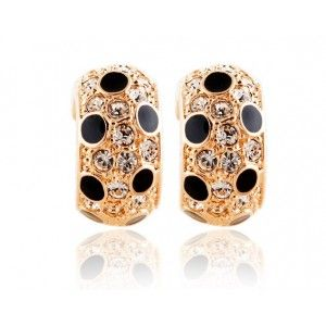 Leopard Print Austrian Crystal Gold Plated Earring