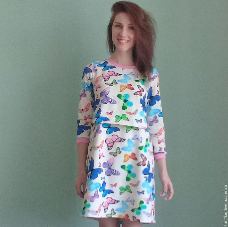 Купить Платье для кормления - комбинированный, однотонный, одежда для кормления, одежда для кормящих, грудное вскармливание