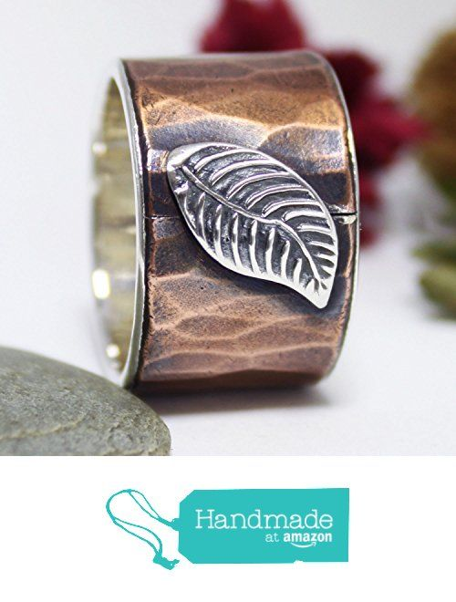 Falling Leaves Copper Band Ring, Statement Ring, Unisex Silver Ring, Rustic Ring, Hammered Ring, Copper And Silver Band Ring, Unisex Adult from rosajuri