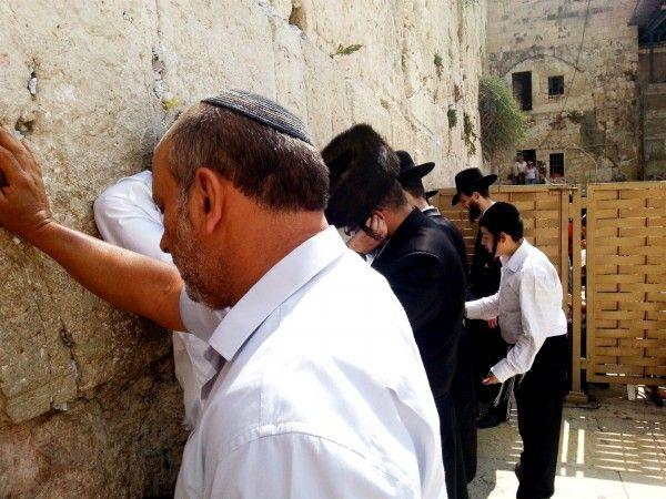 Mannen bidden bij de Westelijke (Loeiende) Muur in Jeruzalem.-  bidt-Westelijke Muur-Jeruzalem