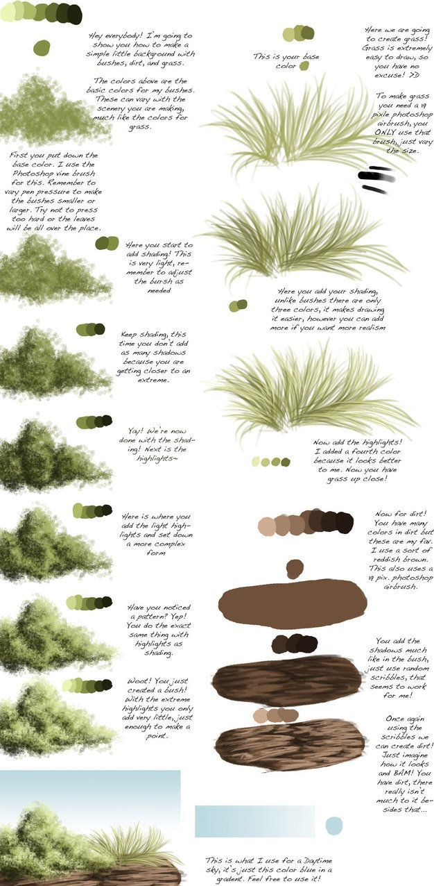 Here you all go! A special little BG tutorial requested by In this I go over how to draw bushes, grass, and dirt. I hope that this helps! Art © to me I'd love to see what you guys do with this tuto...