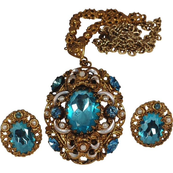 West Germany Huge Aqua Rhinestone Pendant Necklace Earring Set- Very Beautiful and Opulent Set!