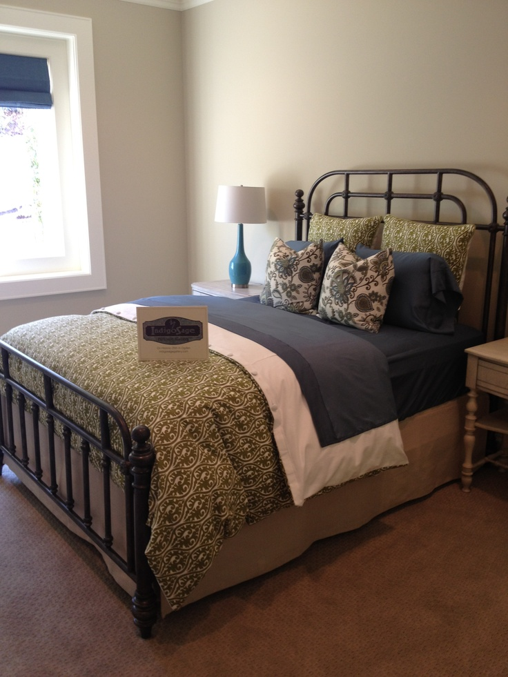 Navy, Green And Taupe In The Bedroom!